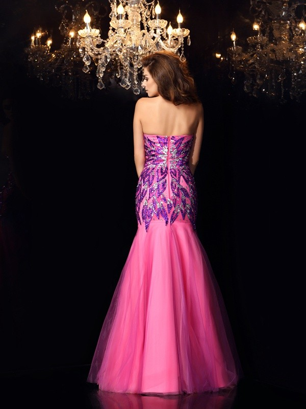 Trumpet/Mermaid Sweetheart Beading Sleeveless Long Net Dresses