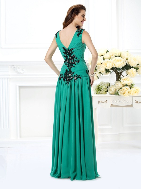 A-Line/Princess V-neck Beading Applique Sleeveless Long Chiffon Dresses