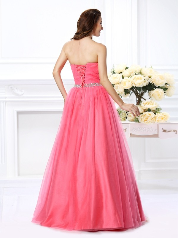 Ball Gown Sweetheart Pleats Sleeveless Long Satin Quinceanera Dresses