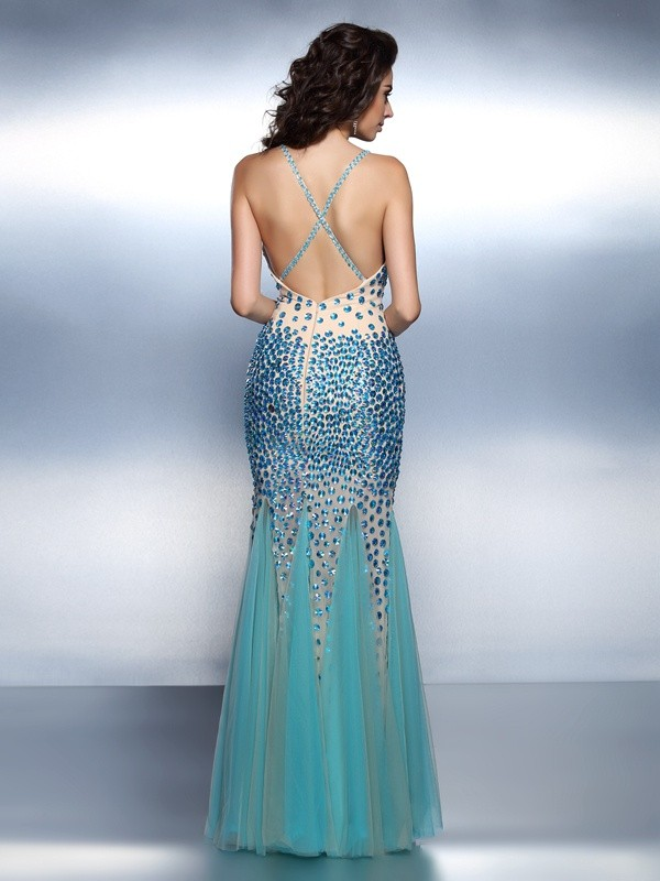 Trumpet/Mermaid Spaghetti Straps Rhinestone Sleeveless Long Satin Dresses