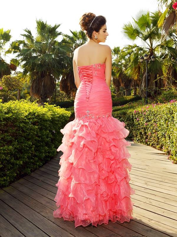 Trumpet/Mermaid Strapless Beading Sleeveless Long Organza Dresses
