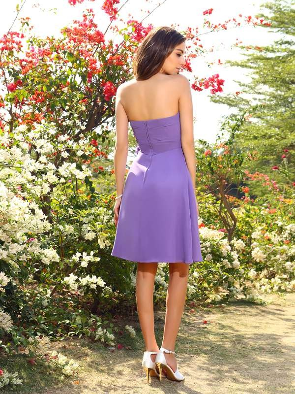 A-Line/Princess Sweetheart Hand-Made Flower Sleeveless Short Chiffon Bridesmaid Dresses