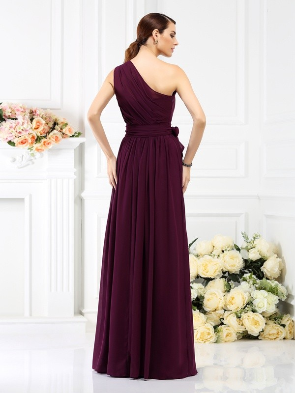 A-Line/Princess One-Shoulder Sash/Ribbon/Belt Sleeveless Long Chiffon Bridesmaid Dresses