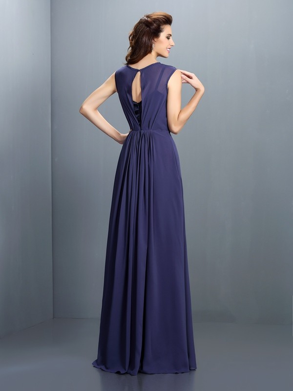 A-Line/Princess High Neck Pleats Sleeveless Long Chiffon Bridesmaid Dresses