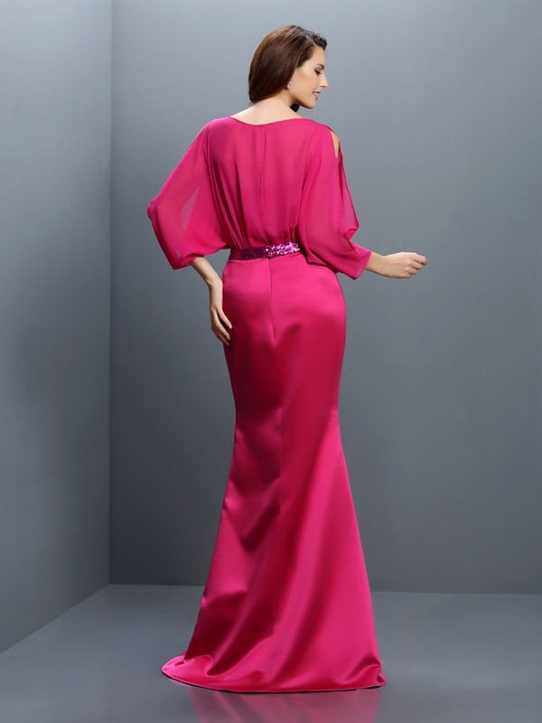 Trumpet/Mermaid Bateau Sash/Ribbon/Belt Long Sleeves Long Chiffon Bridesmaid Dresses