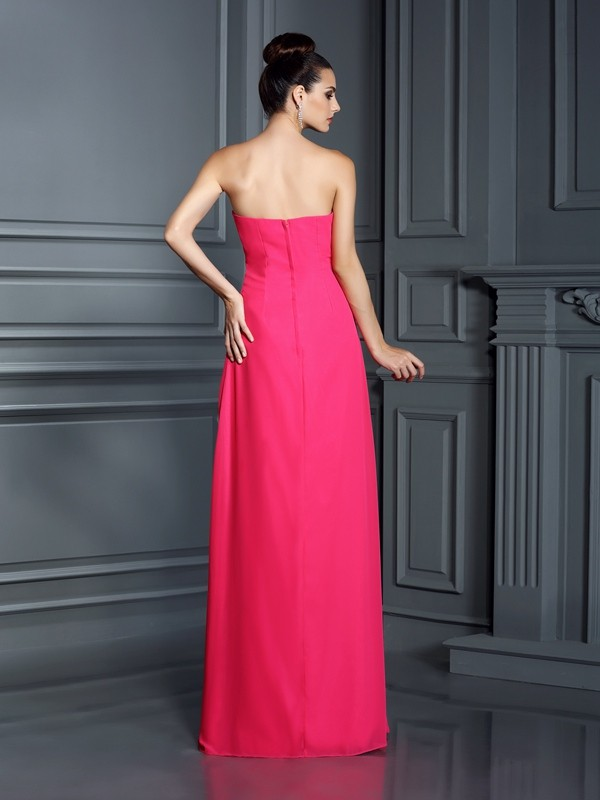 A-Line/Princess Strapless Beading Sleeveless Long Chiffon Bridesmaid Dresses