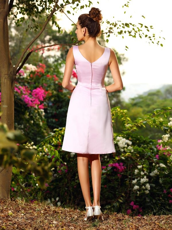 A-Line/Princess V-neck Pleats Sleeveless Short Satin Bridesmaid Dresses