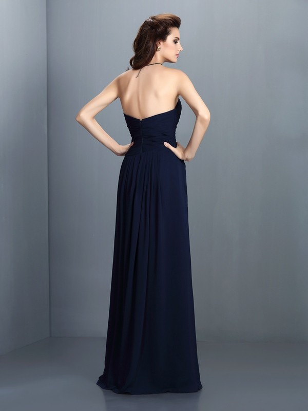 A-Line/Princess Sweetheart Pleats Sleeveless Long Chiffon Bridesmaid Dresses