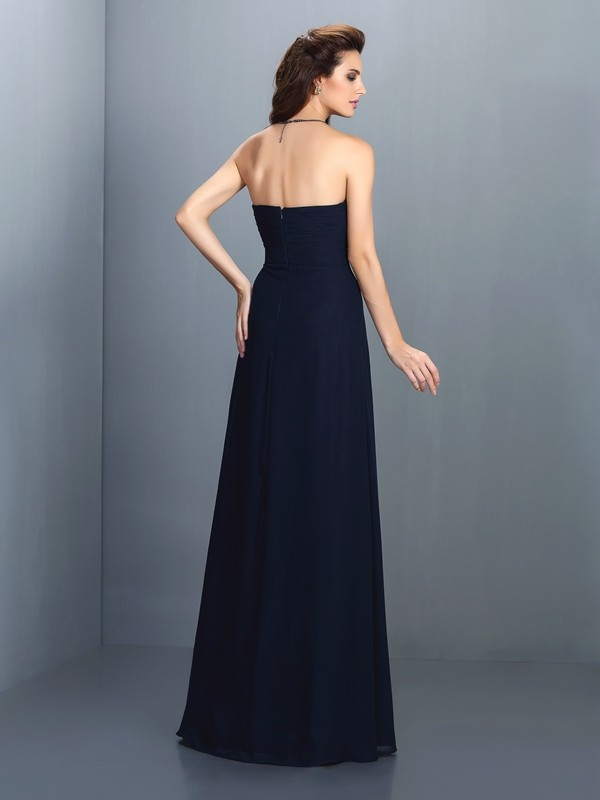 A-Line/Princess Strapless Rhinestone Sleeveless Long Chiffon Bridesmaid Dresses