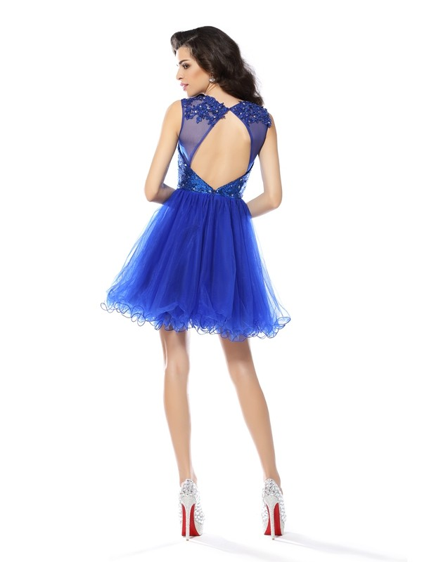 A-Line/Princess Scoop Paillette Sleeveless Short Net Cocktail Dresses