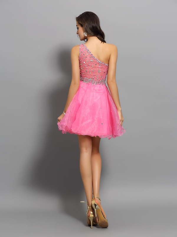 A-Line/Princess One-Shoulder Ruffles Sleeveless Short Organza Cocktail Dresses