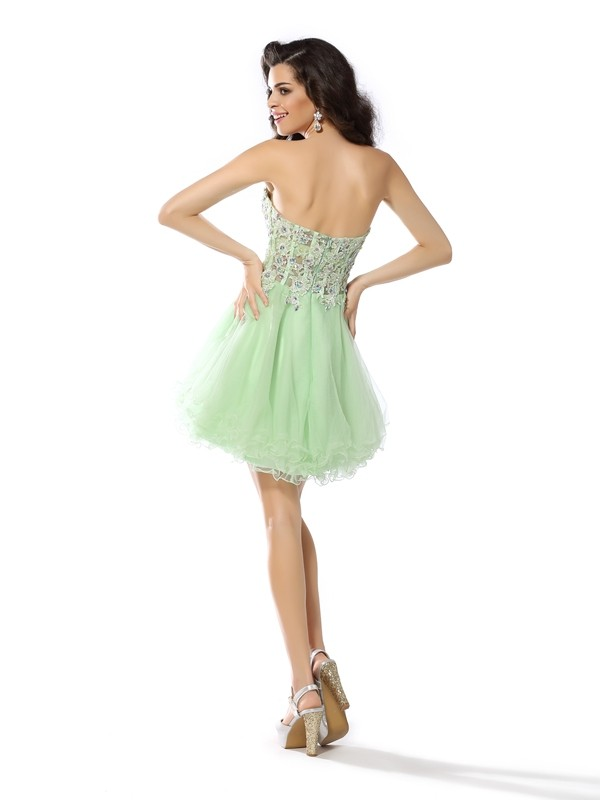 A-Line/Princess Sweetheart Ruffles Sleeveless Short Satin Cocktail Dresses