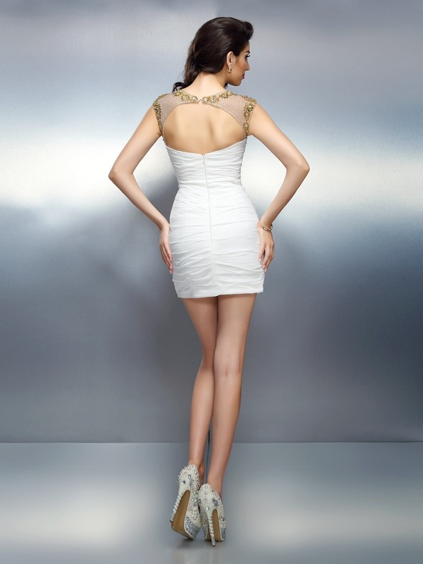 Sheath/Column Bateau Beading Sleeveless Short Chiffon Cocktail Dresses