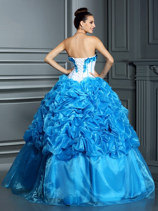 Ball Gown Sweetheart Ruffles Sleeveless Long Satin Quinceanera Dresses