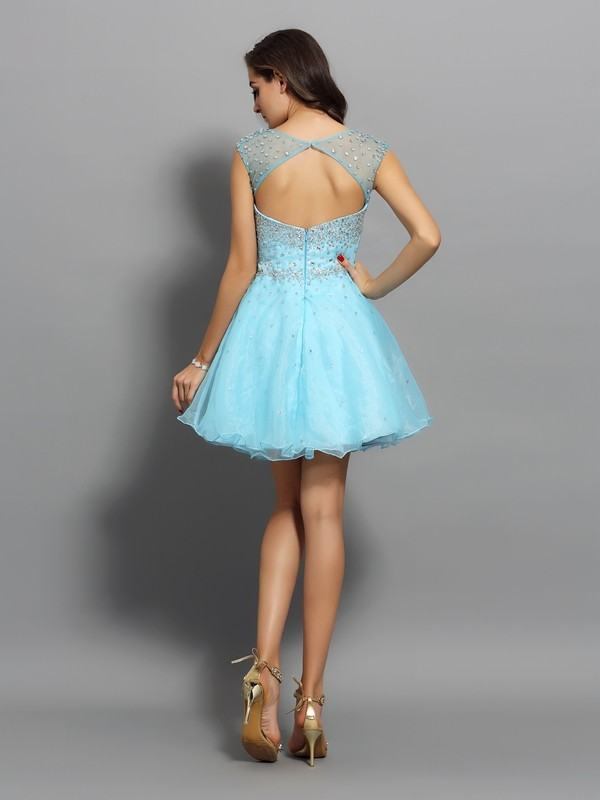 A-Line/Princess Scoop Beading Sleeveless Short Organza Cocktail Dresses