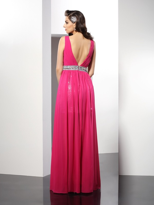 A-Line/Princess V-neck Paillette Sleeveless Long Chiffon Dresses