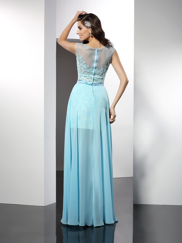 A-Line/Princess Bateau Applique Sleeveless Long Chiffon Dresses