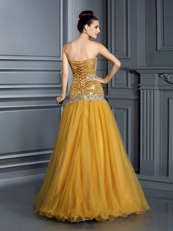 A-Line/Princess Sweetheart Ruffles Sleeveless Long Satin Dresses