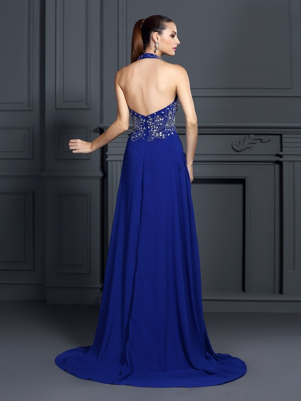 A-Line/Princess Halter Applique Sleeveless Long Chiffon Dresses
