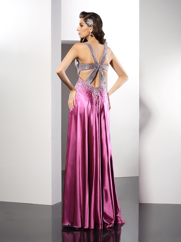 A-Line/Princess Straps Beading Sleeveless Long Elastic Woven Satin Dresses