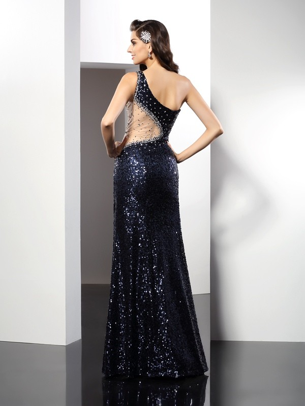 Sheath/Column One-Shoulder Sequin Sleeveless Long Sequins Dresses