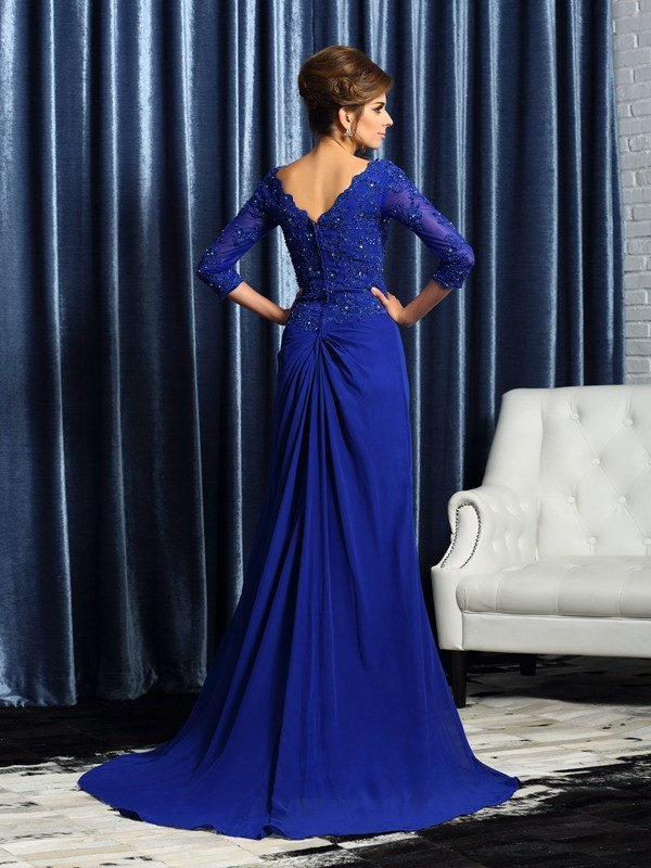 A-Line/Princess V-neck Applique 3/4 Sleeves Long Chiffon Mother of the Bride Dresses