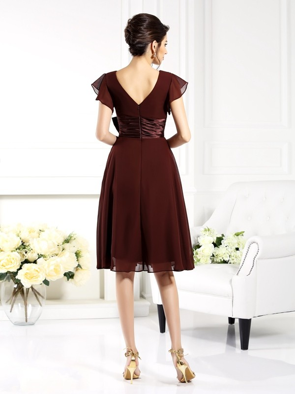 A-Line/Princess V-neck Bowknot Short Sleeves Short Chiffon Mother of the Bride Dresses