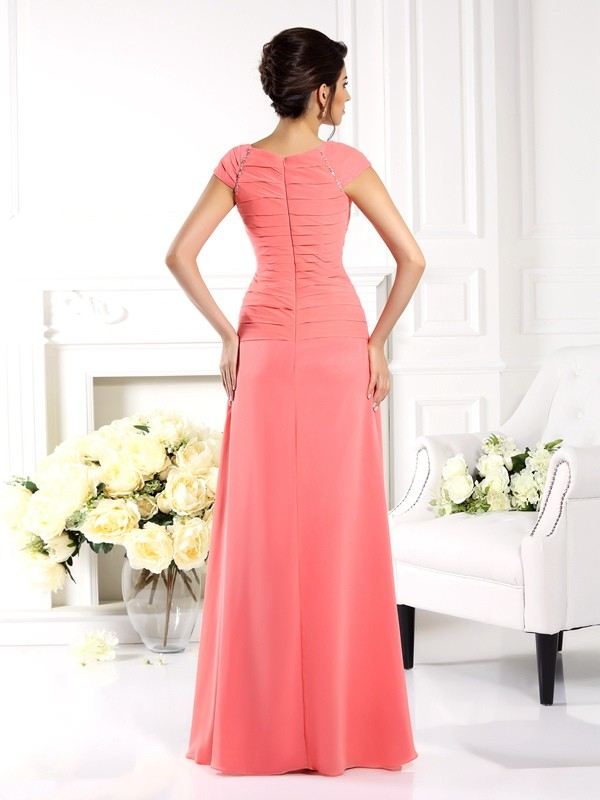 A-Line/Princess Bateau Short Sleeves Long Chiffon Mother of the Bride Dresses