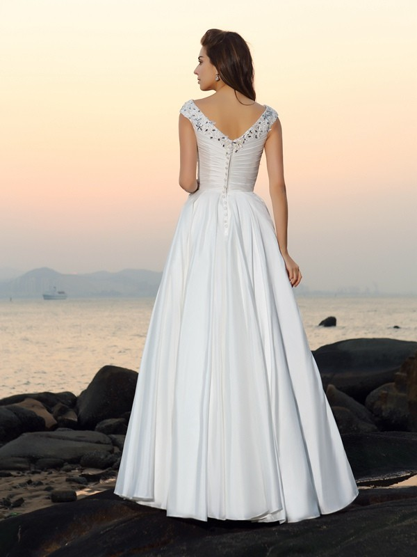 A-Line/Princess V-neck Beading Sleeveless Long Taffeta Beach Wedding Dresses