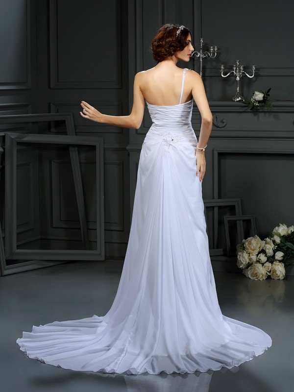 A-Line/Princess One-Shoulder Pleats Sleeveless Long Chiffon Wedding Dresses