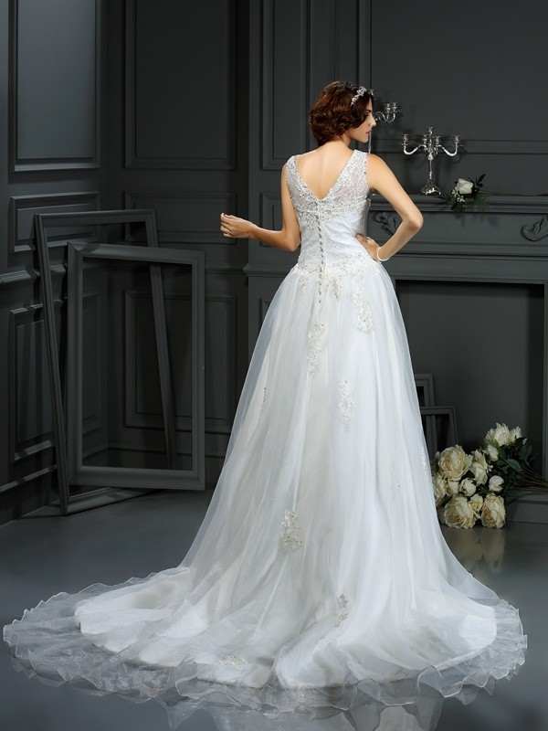 A-Line/Princess Scoop Applique Sleeveless Long Net Wedding Dresses