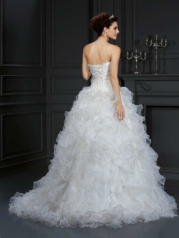 Ball Gown Sweetheart Hand-Made Flower Sleeveless Long Organza Wedding Dresses
