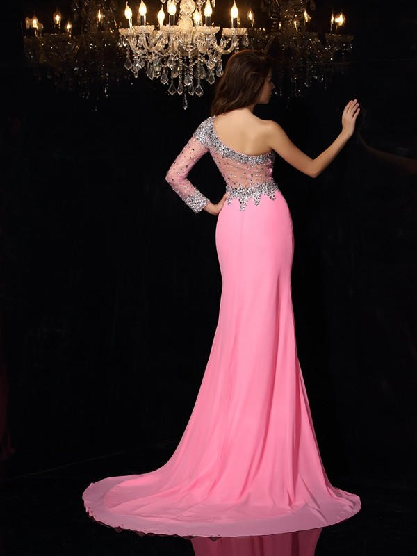 Sheath/Column One-Shoulder Beading Long Sleeves Long Chiffon Dresses