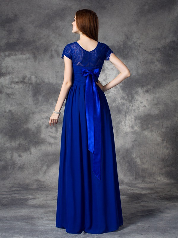 A-line/Princess Bateau Lace Sleeveless Long Chiffon Bridesmaid Dresses