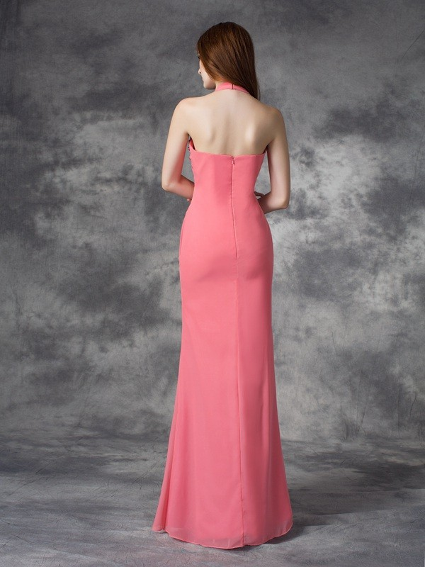 Sheath/Column Halter Ruched Sleeveless Long Chiffon Bridesmaid Dresses