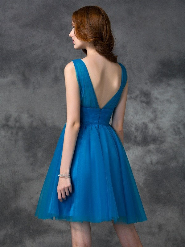 A-line/Princess V-neck Sleeveless Short Satin Bridesmaid Dresses