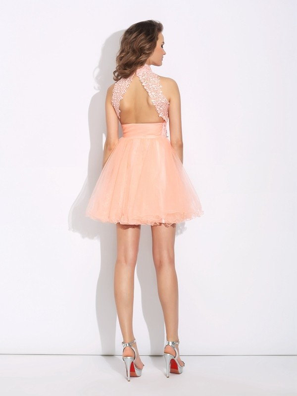 A-Line/Princess High Neck Beading Sleeveless Short Net Dresses