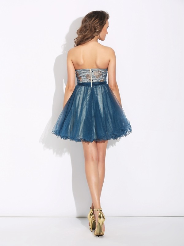 A-Line/Princess Sweetheart Ruffles Sleeveless Short Net Dresses