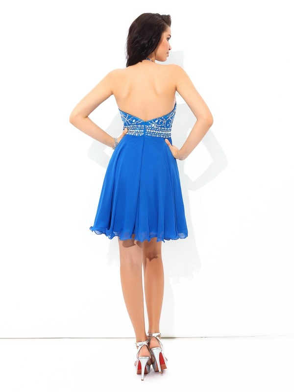 A-Line/Princess Halter Sleeveless Beading Short Chiffon Cocktail Dresses
