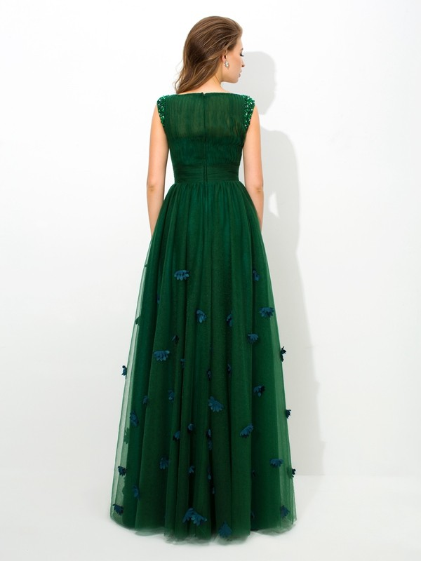 A-Line/Princess Sheer Neck Beading Sleeveless Long Net Dresses