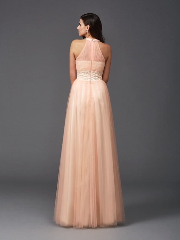 A-Line/Princess Halter Beading Sleeveless Long Net Dresses