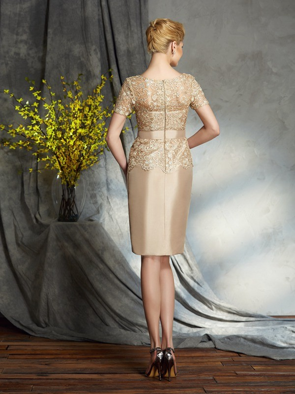 Sheath/Column Bateau Applique Short Sleeves Short Taffeta Mother of the Bride Dresses