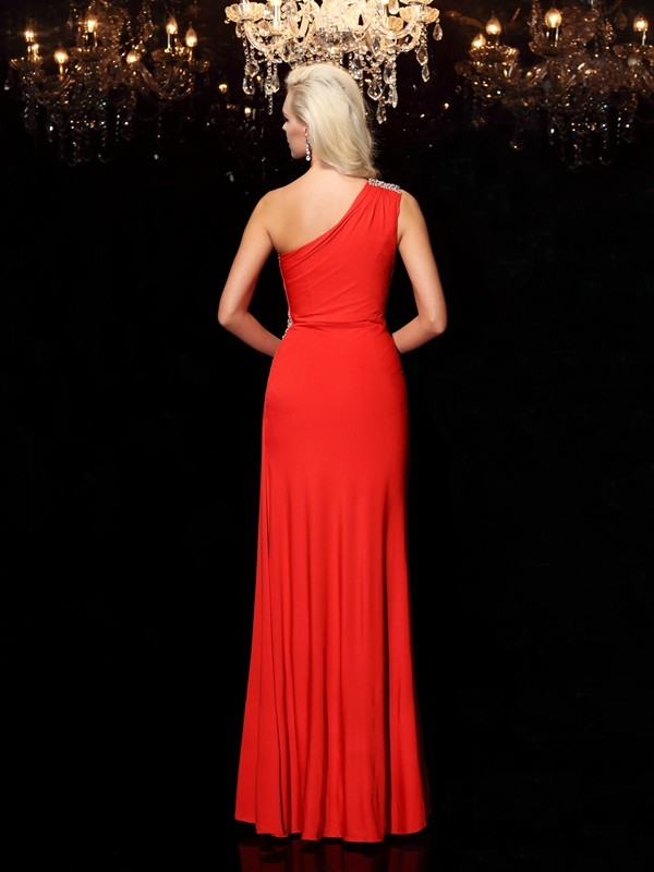 Sheath/Column One-Shoulder Beading Sleeveless Long Spandex Dresses