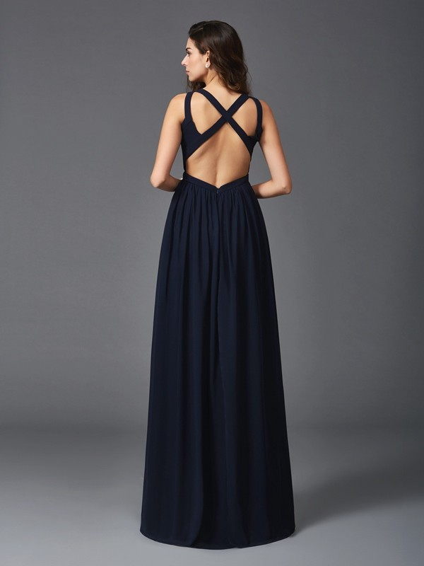 A-Line/Princess Straps Sleeveless Long Chiffon Dresses