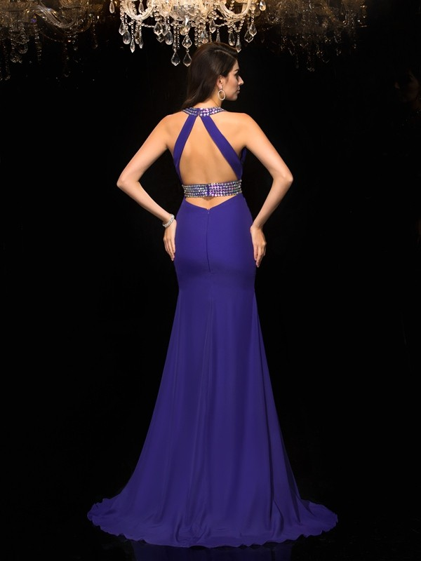 Trumpet/Mermaid V-neck Beading Sleeveless Long Chiffon Dresses