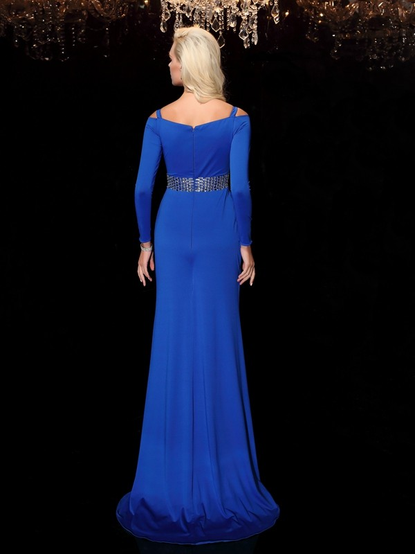 Sheath/Column Bateau Beading Long Sleeves Long Spandex Dresses