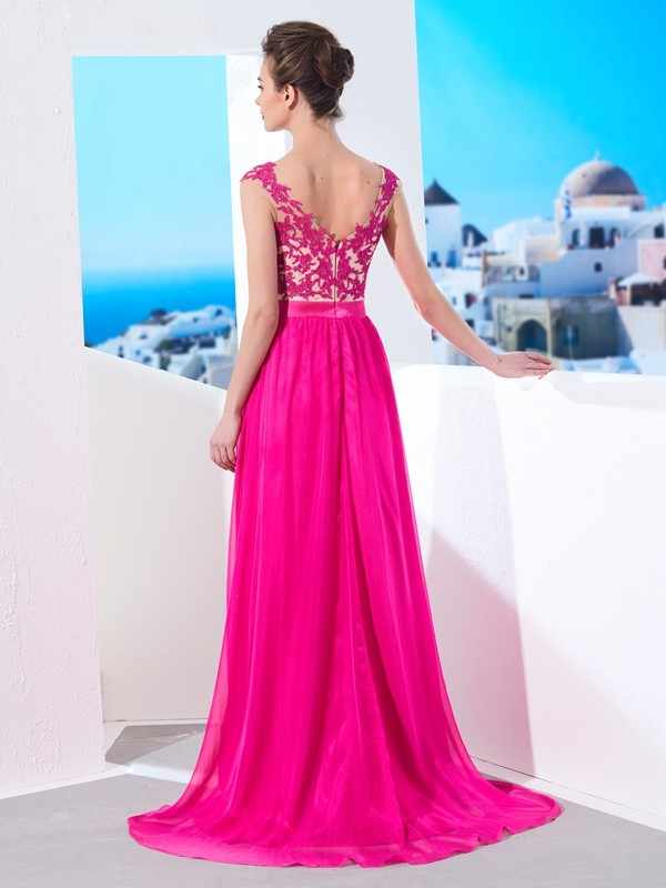A-Line/Princess Sleeveless Sheer Neck Sweep/Brush Train Applique Chiffon Dresses