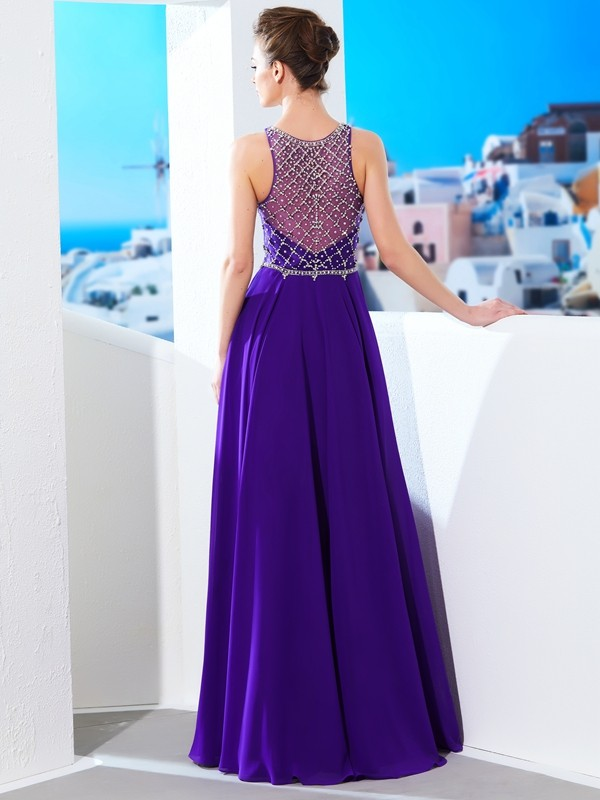 A-Line/Princess Sleeveless Chiffon Scoop Crystal Floor-Length Dresses