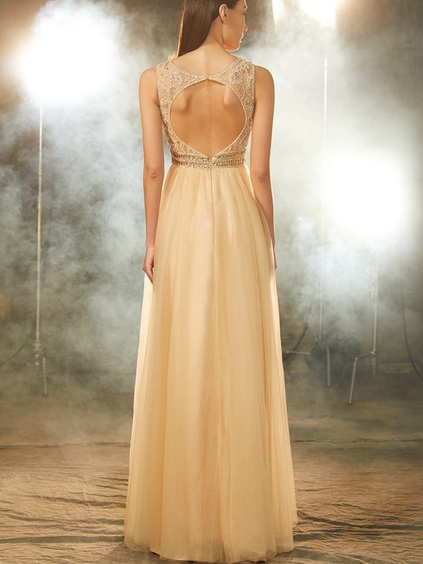 A-Line/Princess Scoop Beading Sleeveless Floor-Length Tulle Dresses