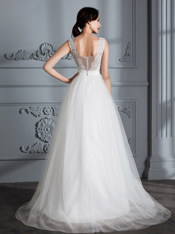 A-Line Sleeveless V-neck Sweep/Brush Train Tulle Wedding Dresses